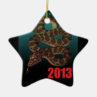 2013SNAKE (C) Double-Sided STAR CERAMIC CHRISTMAS ORNAMENT