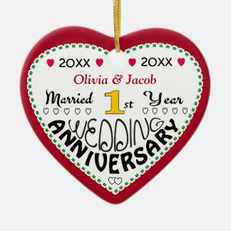 2014 1st Wedding Anniversary Gifts-Christmas Double-Sided Heart Ceramic Christmas Ornament