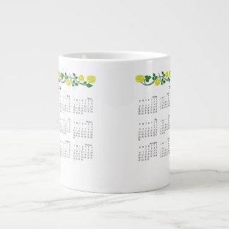 2014-2015 Jumbo Calendar Mug-Stenciled Rose Yellow Extra Large Mugs