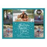 2014 5 photo Christmas holiday card blue stripes
