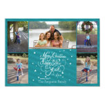 2014 5 photo Christmas holiday card blue stripes
