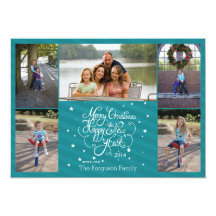 2014 5 photo Christmas holiday card blue stripes Personalized Invite