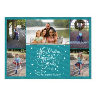 "2014 5 photo Christmas holiday card blue stripes 5"" X 7"" Invitation Card"