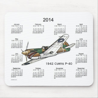 2014 Airplane Calendar Mouse Pad