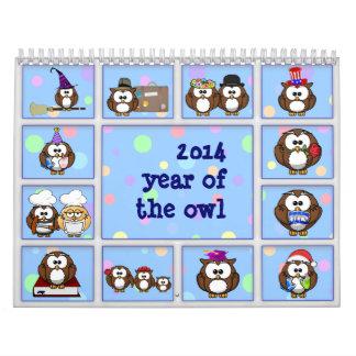 2014 años del búho calendario de pared