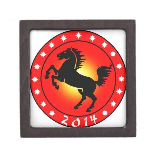 2014 años del caballo caja de recuerdo de calidad