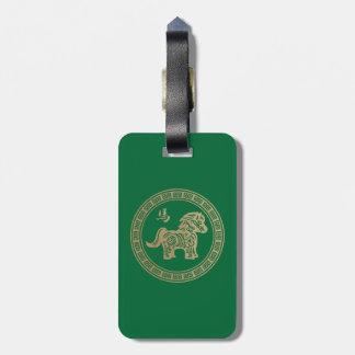 2014 años del caballo de madera verde etiquetas maletas