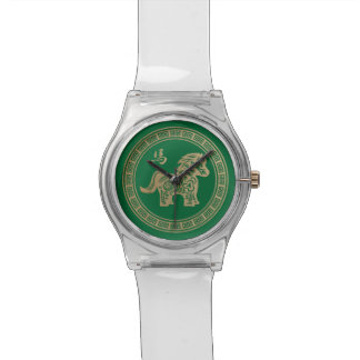 2014 años del caballo de madera verde reloj de mano