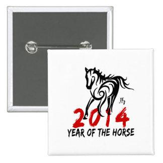 2014 años del caballo pin cuadrada 5 cm