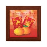 2014 Años Nuevos chinos de la mandarina del caball Joyero Cuadrado Pequeño