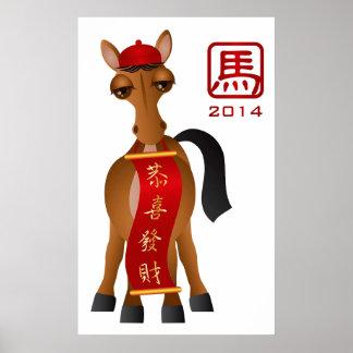 2014 Años Nuevos chinos del caballo que sostiene l Póster
