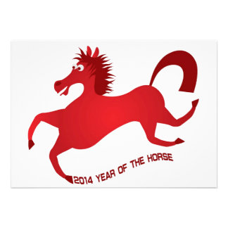2014 Años Nuevos chinos rojos abstractos del cabal Invitación