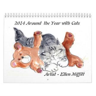 2014 Around the Year with Cats claendar Calendar