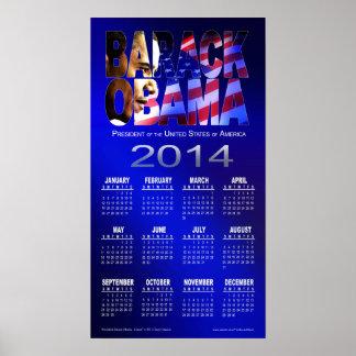 2014 Barack Obama Cutout Calendar | blue Poster