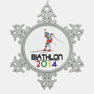 2014: Biathlon Snowflake Pewter Christmas Ornament