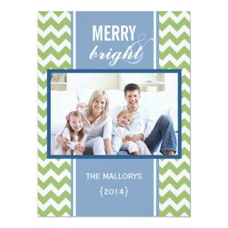 2014 Blue Green Chevron Christmas Flat Card Custom Invite