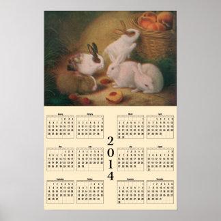 2014 Calendar - Bunnies Poster