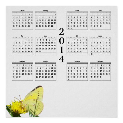Months of the year at a glance with this cheery 2014 yearly calendar