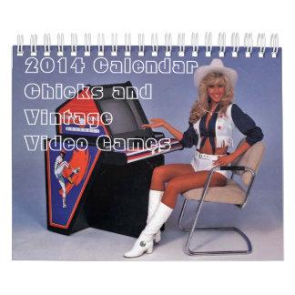 2014 Calendar:  Chicks and Vintage Arcade Games Calendar
