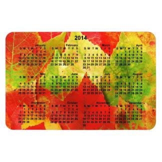 2014 Calendar Colorful Leaves Magnet