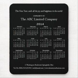 2014 Calendar Corporate Holiday Giveaway Mouse Pad