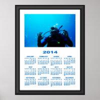 2014 Calendar (Framed) Daring Scuba Diver Poster