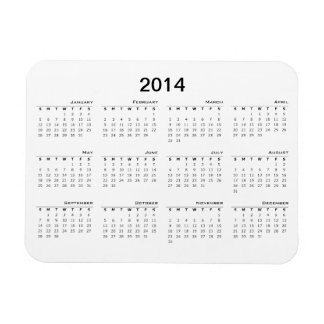 2014 Calendar Fridge Magnet