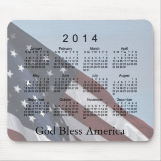 2014 Calendar God Bless America Mouse Pad