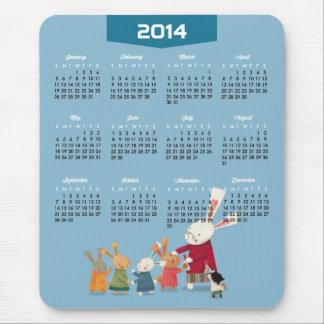 2014 Calendar - Happy New Year Bunny Rabbit Family Mouse Pad