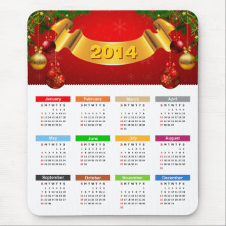 2014 Calendar - Luxury Red and Gold Ornaments Mouse Pad