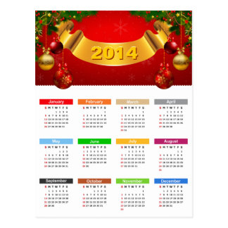 2014 Calendar - Luxury Red and Gold Ornaments Postcard