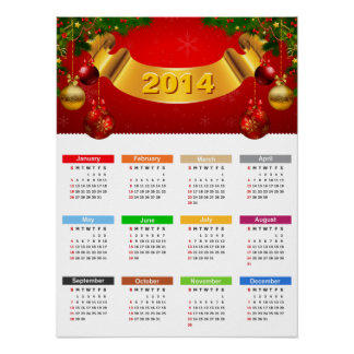 2014 Calendar - Luxury Red and Gold Ornaments Poster