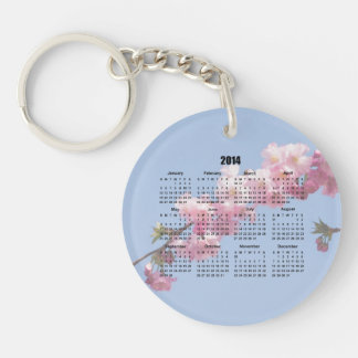 2014 Calendar Pink Blossom Flowers blue sky, gift Double-Sided Round Acrylic Keychain