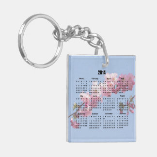 2014 Calendar Pink Blossom Flowers blue sky, gift Double-Sided Square Acrylic Keychain