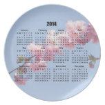 2014 calendar pink blossom flowers blue sky, gift dinner plates