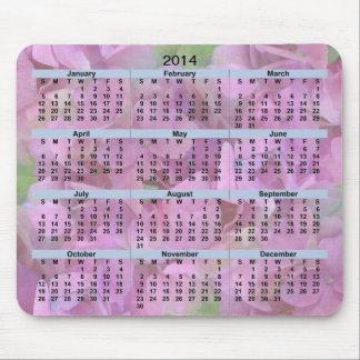 2014 Calendar Pink Flowers Mousepad