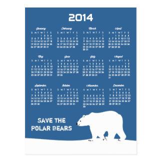 2014 Calendar - Save the Polar Bears Post Cards