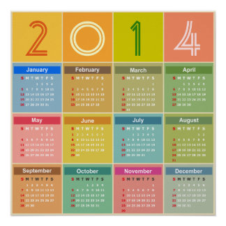 2014 Calendar - Squares in Chic Light Colors Poster
