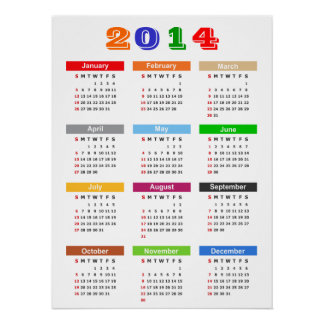 2014 Calendar - Standard Multiple Colors Theme Poster