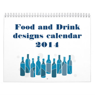 2014 calendar with food and drink graphics