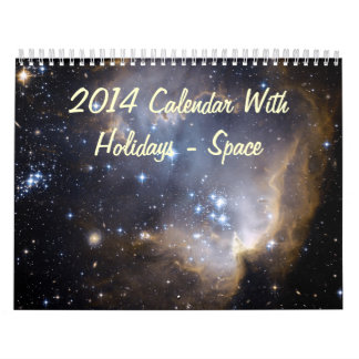 2014 Calendar With Holidays - Space