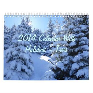 2014 Calendar With Holidays - Trees