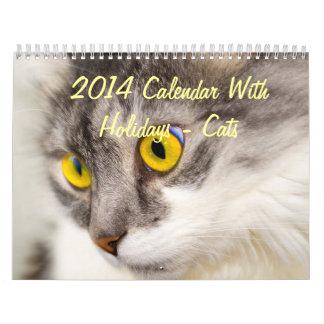 2014 calendario con días de fiesta - gatos