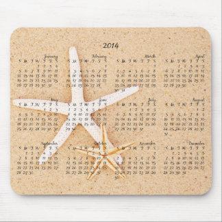 2014 calendario - estrellas de mar Mousepad Tapete De Ratón
