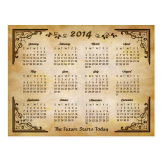 2014 calendario - marco antiguo y viejo estilo de  tarjeta postal