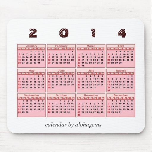2014 calendario Mousepad