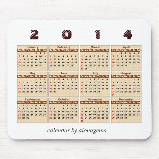 2014 calendario Mousepad Alfombrillas De Ratón