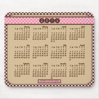 2014 calendario Mousepad - rosa a cuadros y Brown Alfombrilla De Ratón