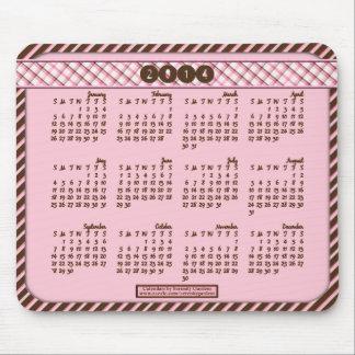 2014 calendario Mousepad - rosa diagonal/Brown Alfombrilla De Raton