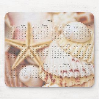 2014 calendario - Seashell Mousepad Alfombrillas De Ratones